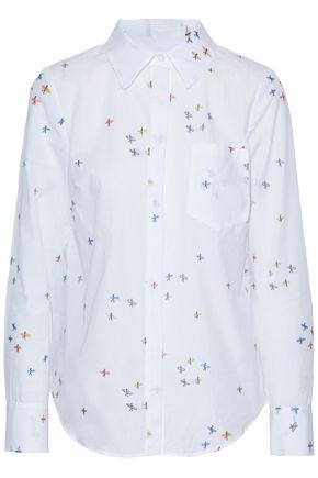 MILLY Embroidered cotton shirt