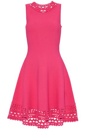 MILLY Laser cut-trimmed stretch-ponte dress