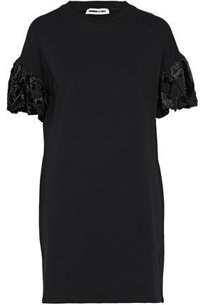 McQ Alexander McQueen Velvet-trimmed cotton-terry mini dress