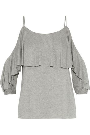 BAILEY 44 Havana cold-shoulder gathered jersey top