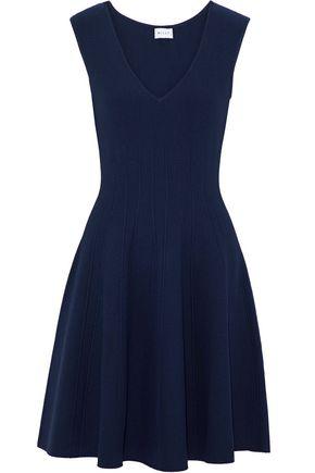 MILLY Textured Godet fluted stretch-knit dress