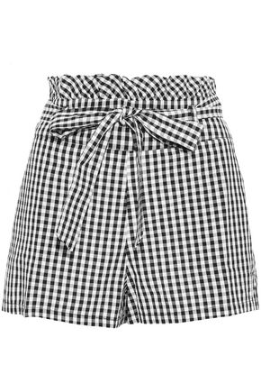 W118 by WALTER BAKER Belted ruffle-trimmed gingham woven shorts