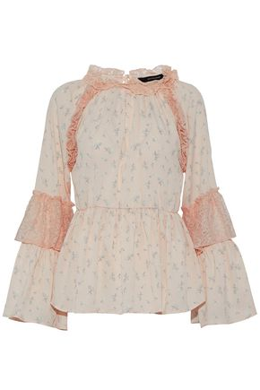 W118 by WALTER BAKER Lace-paneled ruffled floral-print crepe de chine blouse