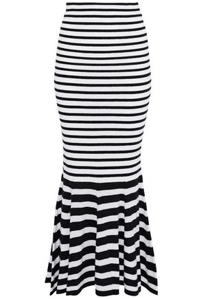 McQ Alexander McQueen Fluted striped wool-blend midi skirt