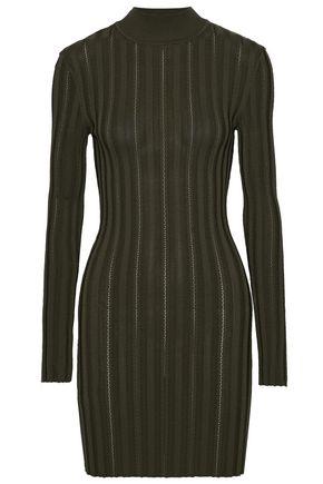 McQ Alexander McQueen Cutout ribbed-knit turtleneck mini dress