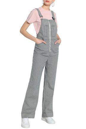 ALEXACHUNG Striped denim wide-leg overalls