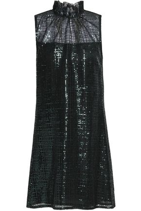 GOAT Ruffle-trimmed sequined net dress