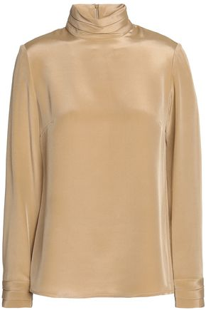GOAT Silk-satin turtleneck blouse