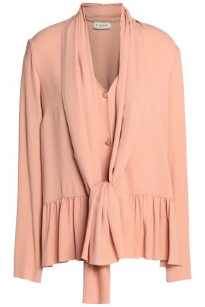 LANVIN Pussy-bow ruffle-trimmed crepe de chine blouse