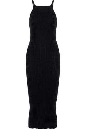 AUTUMN CASHMERE Ribbed-knit cotton midi dress