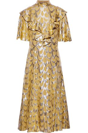 TEMPERLEY LONDON Rider ruffled fil coupé silk-blend chiffon dress