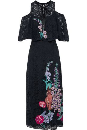 TEMPERLEY LONDON Cold-shoulder embroidered corded lace midi dress