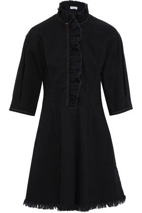SONIA RYKIEL Frayed ruffle-trimmed denim mini dress