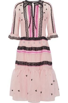 TEMPERLEY LONDON Lace-trimmed embroidered cotton and silk-blend organza dress