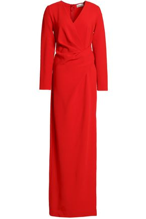 LANVIN Wrap-effect pleated crepe gown