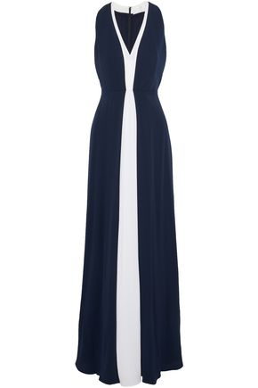 Two Tone Silk Crepe De Chine Gown by Mikael Aghal
