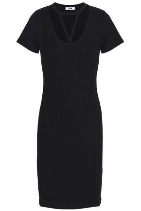 LNA Cutout ribbed-knit dress