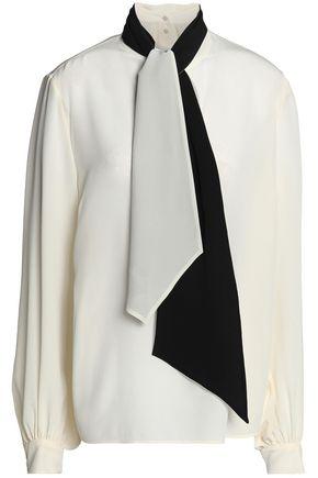 LANVIN Pussy-bow crepe de chine blouse
