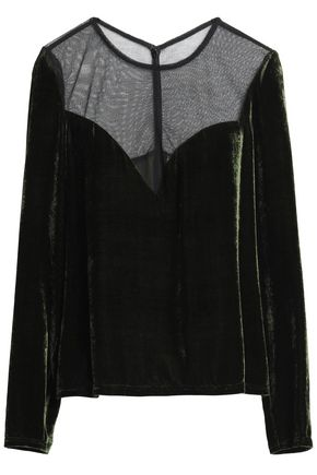 LANVIN Mesh-paneled velvet top