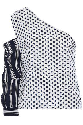 W118 by WALTER BAKER One-shoulder cutout printed crepe de chine top