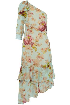 W118 by WALTER BAKER Sophina one-shoulder tiered floral-print georgette dress