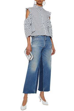 W118 by WALTER BAKER Cold-shoulder ruffle-trimmed polka-dot crepe de chine top