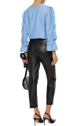 W118 by WALTER BAKER Eugene ruffle-trimmed cotton-chambray top