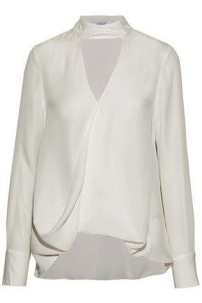DEREK LAM 10 CROSBY Cutout wrap-effect silk-chiffon blouse