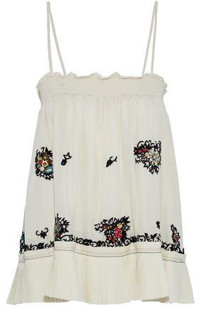 DEREK LAM 10 CROSBY Embellished pleated silk camisole