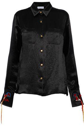 SONIA RYKIEL Embroidered textured-satin shirt