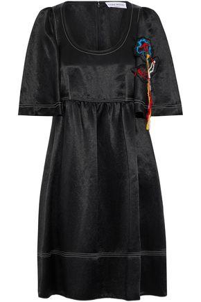 SONIA RYKIEL Embroidered textured-satin dress
