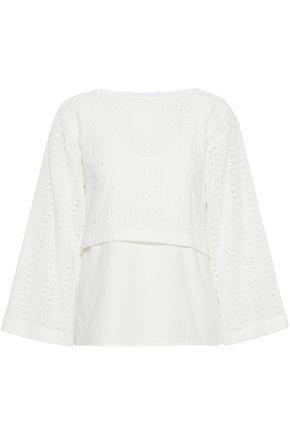DEREK LAM 10 CROSBY Layered crochet-knit and cotton-blend jersey top