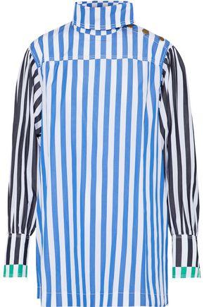 SONIA RYKIEL Paneled striped cotton-poplin top
