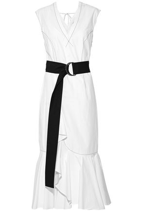 DEREK LAM 10 CROSBY Belted ruffle-trimmed cotton-poplin midi dress