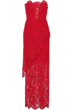 MILLY Strapless layered corded lace gown