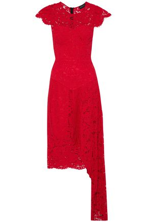 MILLY Margaret asymmetric layered corded lace dress