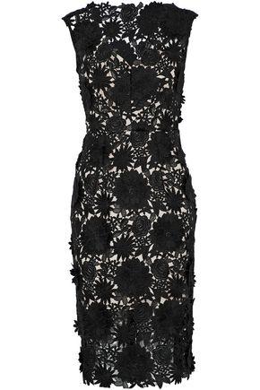 MILLY Mari floral-appliquéd guipure lace dress