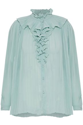 W118 by WALTER BAKER Leann ruffle-trimmed pleated chiffon blouse