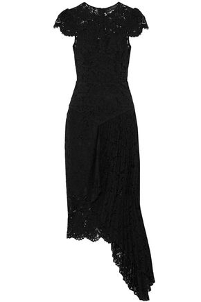 MILLY Asymmetric pleated corded lace dress