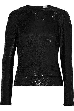 TEMPERLEY LONDON Filigree sequined crepe de chine top