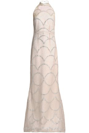 SAFIYAA Fluted metallic lace gown
