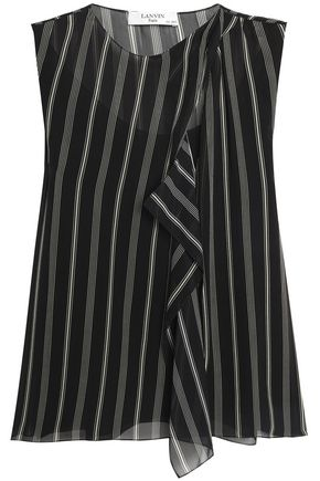 LANVIN Ruffled striped silk-chiffon top