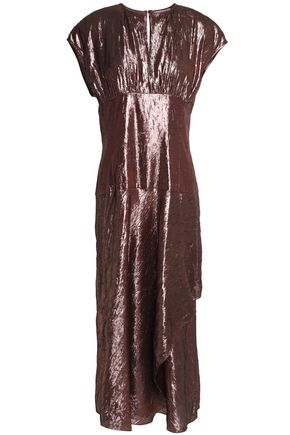 LANVIN Crinkled silk-blend lamé midi dress