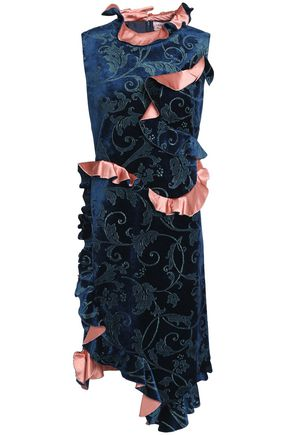 LANVIN Ruffled metallic printed velvet dress