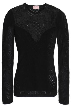 LANVIN Layered lace-paneled open-knit top
