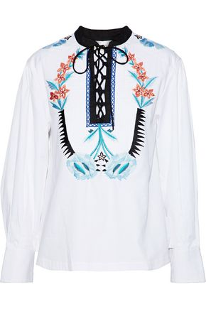 TEMPERLEY LONDON Peacock lace-up embroidered cotton-poplin shirt