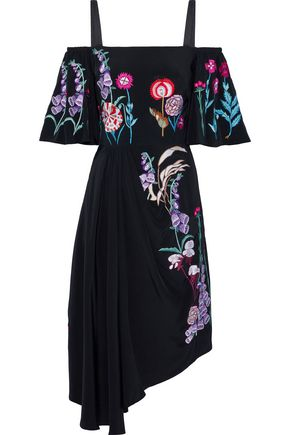 TEMPERLEY LONDON Woodland cold-shoulder gathered embroidered silk dress