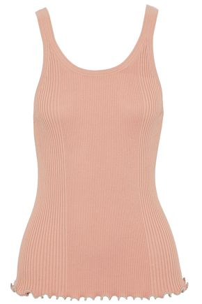 ALEXANDER WANG Bead-trimmed ribbed cotton tank