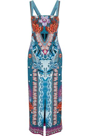 TEMPERLEY LONDON Cutout printed crepe midi dress