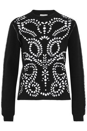 SONIA RYKIEL Ruffle-trimmed two-tone jacquard-knit sweater